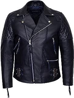 'Reckless' Men's Navy Blue Hide Biker Style Motorcycle Real Cowhide Leather Jacket