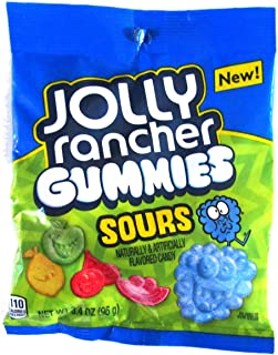 Jolly Rancher Gummies Sours (1 bag) Sour & Chewy Gummy Candy - Green Apple, Blue Raspberry, Cherry, Lemon, Watermelon - 3.4 oz / 96 g