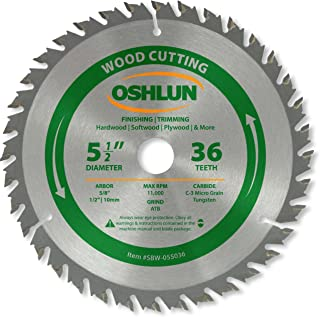 Oshlun SBW-055036 5-1/2-Inch 36 Tooth ATB Finishing and Trimming Saw Blade with 5/8-Inch..