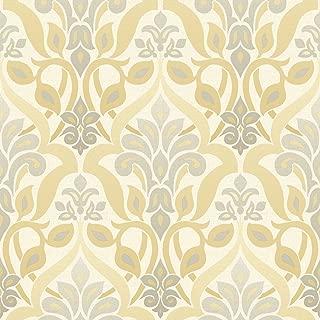 Beacon House 2535-20647 Fusion Ombre Damask Wallpaper, Yellow