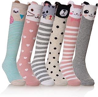 Girls Knee High Socks Cartoon Animal Patterns Cotton Over...