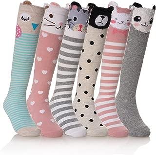 NOVCO Girls Knee High Socks Cartoon Animal Patterns Cotton Over Calf Socks