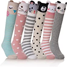 NOVCO Girls Knee High Socks Cartoon Animal Patterns Cotton Over Calf Socks