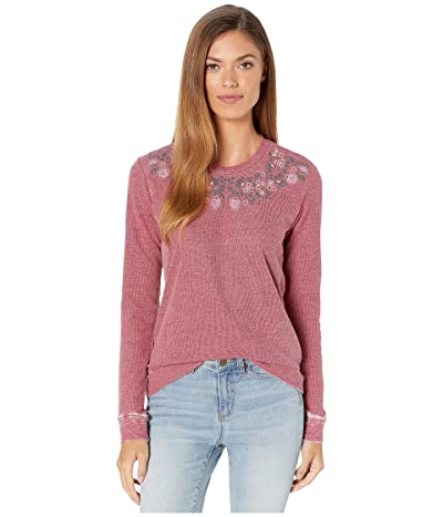 Lucky Brand Embroidered Novelty Sweatshirt (Biking Red) Women