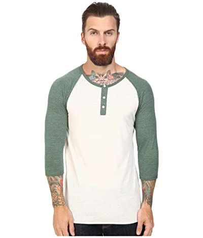 Alternative 3/4 Raglan Henley (Eco Ivory/Eco True Dusty Pine) Men