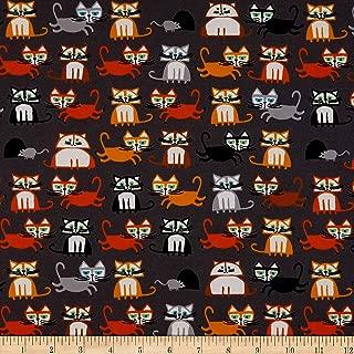 Cloud 9 Fabrics Organic Ed Emberley Favorites Cats Black/Multi