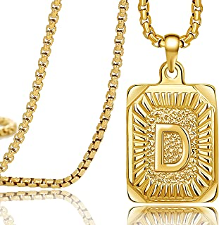 18K Real Yellow Gold Initial Letter Men Necklace...
