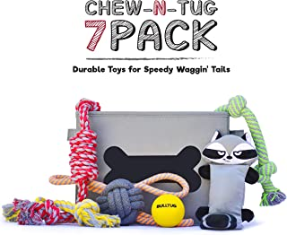 BULLTUG - Dog Toys (7-Pack Bagged-Gift Set). Toy Storage Basket, Four Thick Chew Ropes, Squeaky-Crinkly Plush, Tough Bouncy Ball - for Puppies up to Large Size Dogs