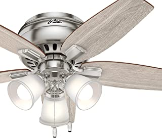 Hunter 42 in. Low Profile Ceiling Fan with LED Light in Brushed Nickel (Renewed)