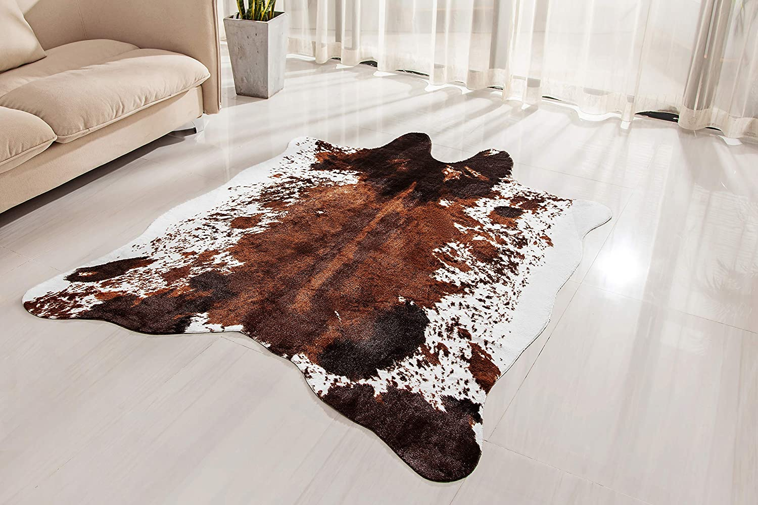 NativeSkins Faux Max 76% OFF Cowhide Rug Large 4.6ft Time sale Cow x A - Print 6.6ft