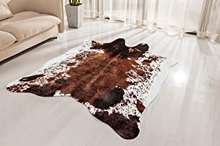 NativeSkins Faux Cowhide Rug Large (4.6ft x 6.6ft) - Cow Print Area Rug for a Western Boho Decor - Synthetic, Cruelty-Free Animal Hide Carpet with No-Slip Backing