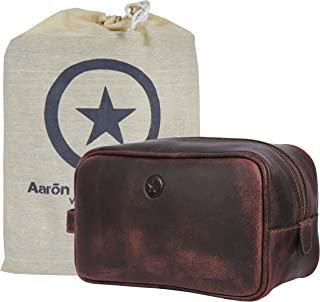 Aaron Leather Goods Leather Toiletry Bag for Men Travel Dopp Kit with Waterproof Lining Brown 10 Inch (Walnut)