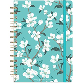 "Journal/Ruled Notebook - Ruled Journal with Premium Thick Paper, 6.3"" x 8.4"", Hardcover with Back Pocket + Banded,Twin-Wire Binding - Teal Floral"