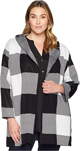 Plus Size Long Check Jacket w/ Hood