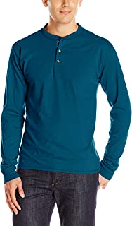 Men's Long-Sleeve Beefy Henley T-Shirt - X-Large - Petro...