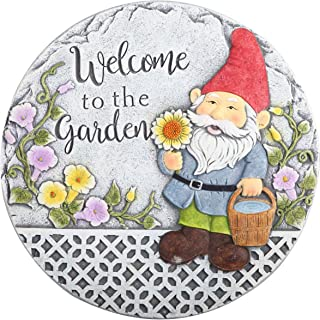TERESA'S COLLECTIONS Garden Gnome Stepping Stones for Garden Walkway, Welcome to The Garden Funny Decorative Stepping Ston...