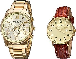 Akribos XXIV Men's 2 Watch Set - 1 Multifunction Swiss Quartz Watch On Stainless Steel Bracelet, 1 Everyday Watch with Date Window On Leather Strap - AK884