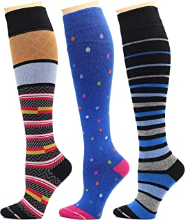 3 Pairs Dr. Motion Therapeutic Graduated Compression Women's Knee-hi Socks