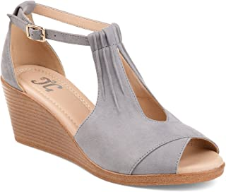 Womens Comfort Sole Ankle Strap Wedges