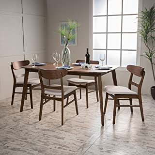 Christopher Knight Home 299279 Helen Mid Century Fabric & Wood 5 Piece Dining Set   in Walnut/Light Beige