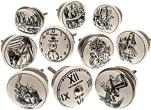 Vintage Chic Mixed Set met 'Alice in Wonderland - horloge' zwart & wit keramiek keukenkast knop x 10 per verpakking (MG-26...