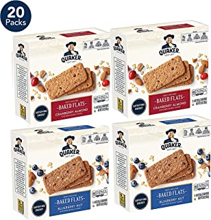 Quaker Baked Flats, Blueberry Nut & Cranberry Almond, 5-3 Bar Packs (Pack of 4)