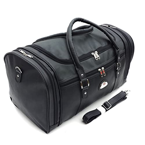 9d9f439a1d32 Leather Weekend Bag Travel Duffle Sports Cabin Gym PU Look Holdall Luggage  Faux (X-