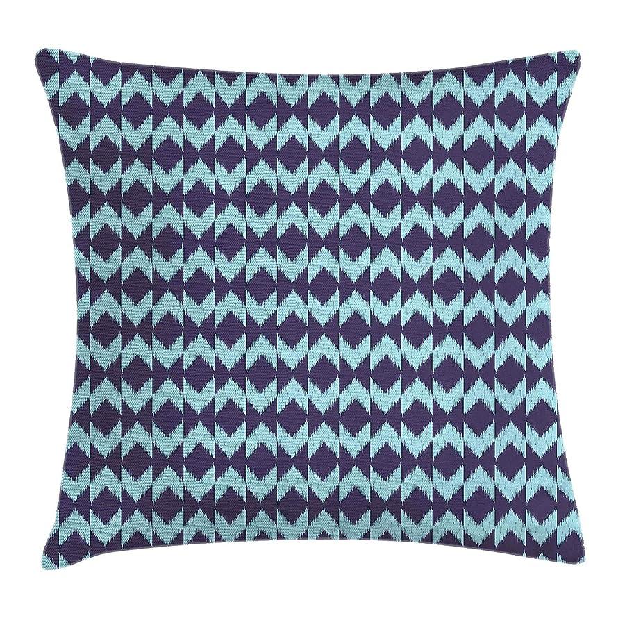 間隔本成功Navy Throw Pillow Cushion Cover, Diamond Shaped Blurry Ikat Pattern Chevron Effects Ethnic Asian Artsy Image, Decorative Square Accent Pillow Case, 18 X 18 Inches, Eggplant Turquoise