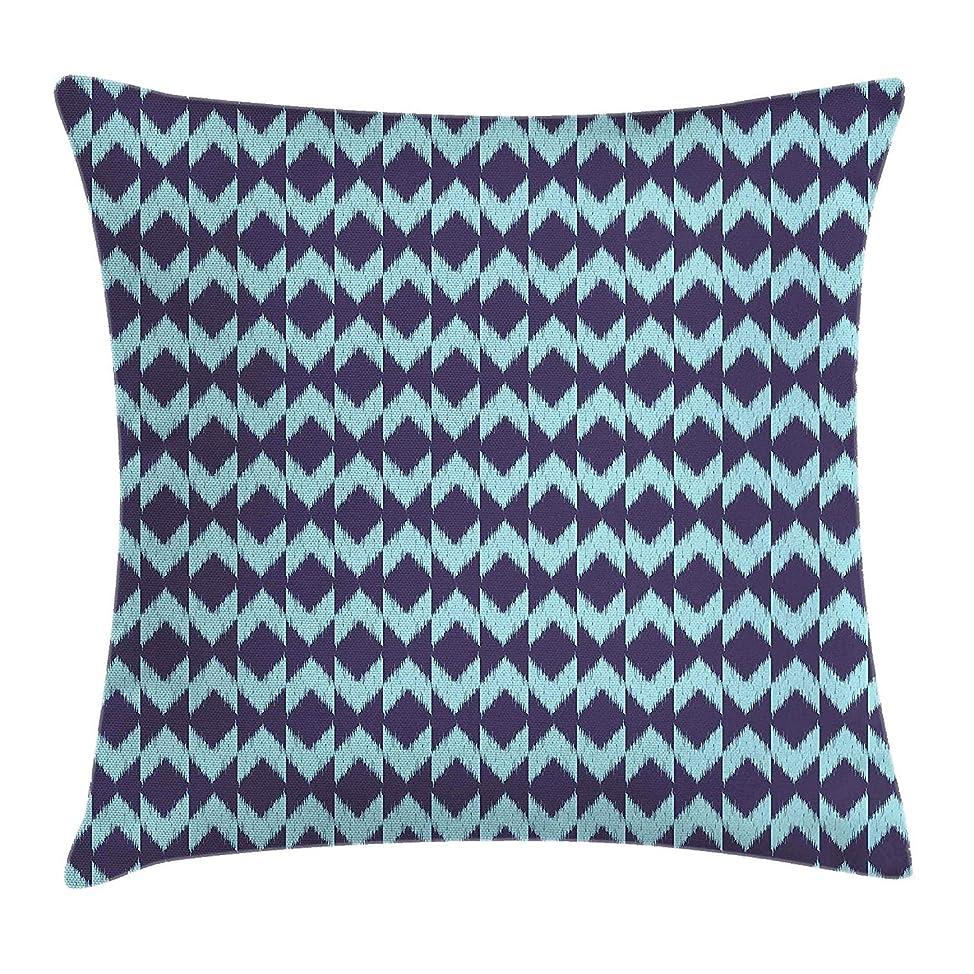 敏感な宣言祝福するNavy Throw Pillow Cushion Cover, Diamond Shaped Blurry Ikat Pattern Chevron Effects Ethnic Asian Artsy Image, Decorative Square Accent Pillow Case, 18 X 18 Inches, Eggplant Turquoise
