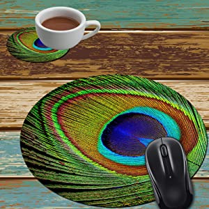 Mouse Pad and Coaster Set, Peacock Feather Mouse Pad Round Non-Slip Rubber Mousepad Office Accessories Desk Decor Mouse Mat for Desktops Computer Laptops