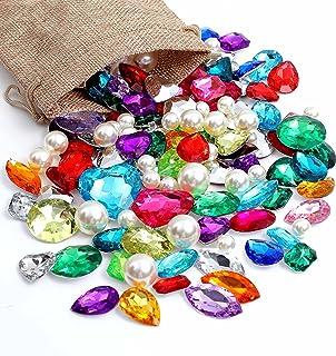 DEODARI 115pcs Pirate Gems Fake Treasure Jewels with Pearls in Sack bag Kids Pirate party Favors