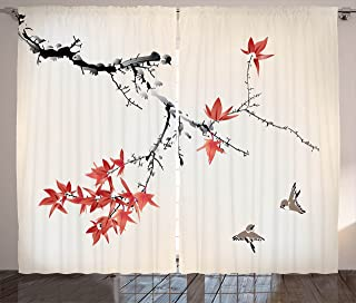 Ambesonne Japanese Curtains, Cherry Blossom Sakura Tree Branches Romantic Spring Themed Watercolor Picture, Living Room Bedroom Window Drapes 2 Panel Set, 108