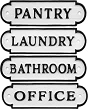 """AuldHome Farmhouse Decor Metal Signs, Set of 4 Decorative Cast Iron Door Room Plaques with """"Pantry"""", """"Office"""", """"Bathroom"""" and """"Laundry"""""""