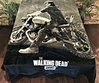 Regal Comfort Daryl Dixon on Motorcycle AMC Walking Dead Faux Fur Queen Blanket