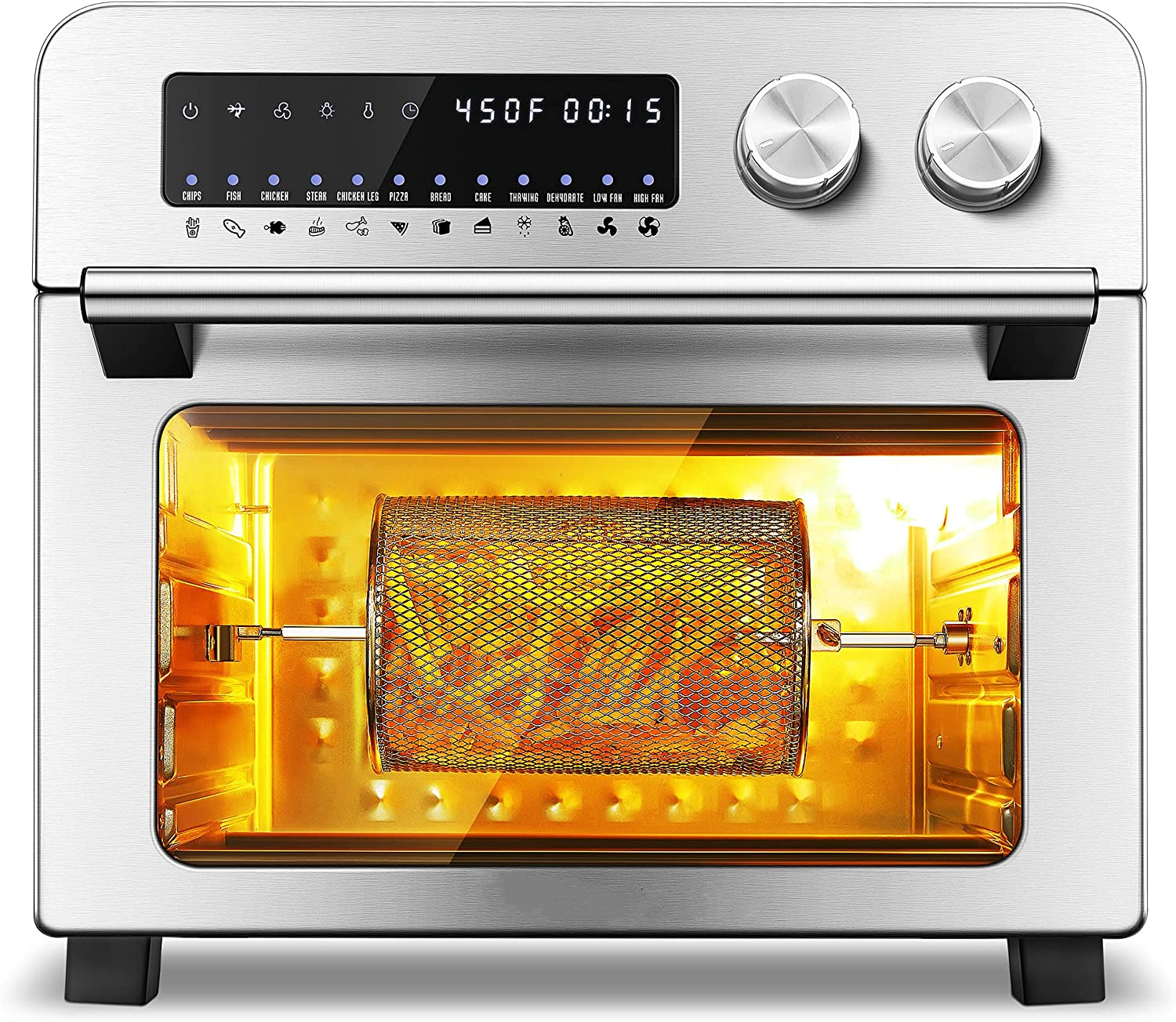 Air Fryer Toaster Oven, 1700W Large Digital LED Screen Convection Oven 24 QT Smart Air Fryer Oven for Roast Broil Bake Dehydrate, Extra Oven Gloves and 100 Recipes Included