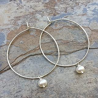Silver Hoop Earrings with Pearl, 1.5 inch
