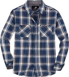 Mens Button Down Shirts Regular Fit Long Sleeve Casual Plaid Flannel Shirt