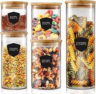 Twinzee I Bocaux en Verre I Bocal Hermétique I Rangement Cuisine I Lot de 5 pcs (de 800mL à 2,2L), Boite Hermétique Alimen...