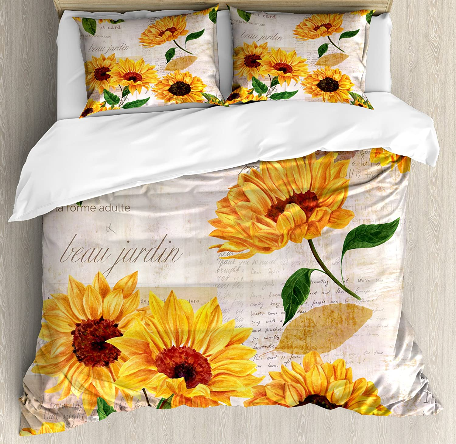 Lunarable Sunflower King Size Duvet Cover Set, Romantic Flowers on Old Fashioned Letters Postcards Newspapers, Decorative 3 Piece Bedding Set with 2 Pillow Shams, Fern Green Marigold Beige