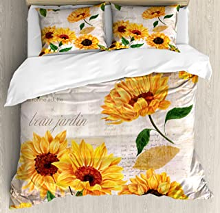 Lunarable Sunflower Duvet Cover Set, Romantic Flowers on Old Fashioned Letters Postcards Newspapers, Decorative 3 Piece Bedding Set with 2 Pillow Shams, Queen Size, Mustard Green