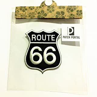 """Patch Portal Black Route 66 Sign Decor 3"""" Embroidered Iron On Patch Highway Biker Motorcycle Emblem US Vintage Road Street..."""