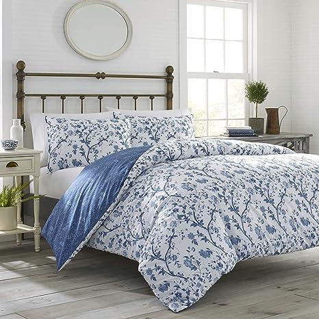 3pc Elise Quilt set White//Blue Cotton Vine Country Chic Floral Reversible