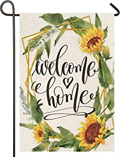 Atenia Welcome Home Sunflower Garden Burlap Flag, Double Sided Sunflower Wreath Welcome Sign Garden Outdoor Yard Flags for...
