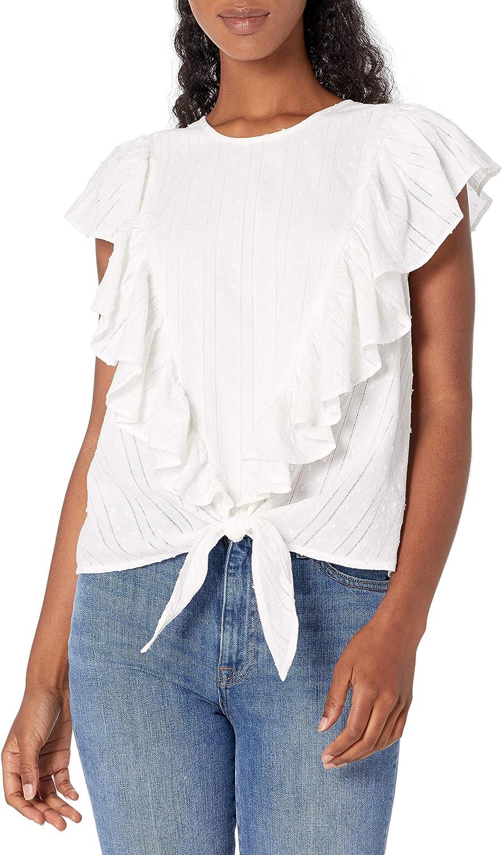 Ella Moss Women's Freeah Ruffle Tie Front Sleeveless Knit Top