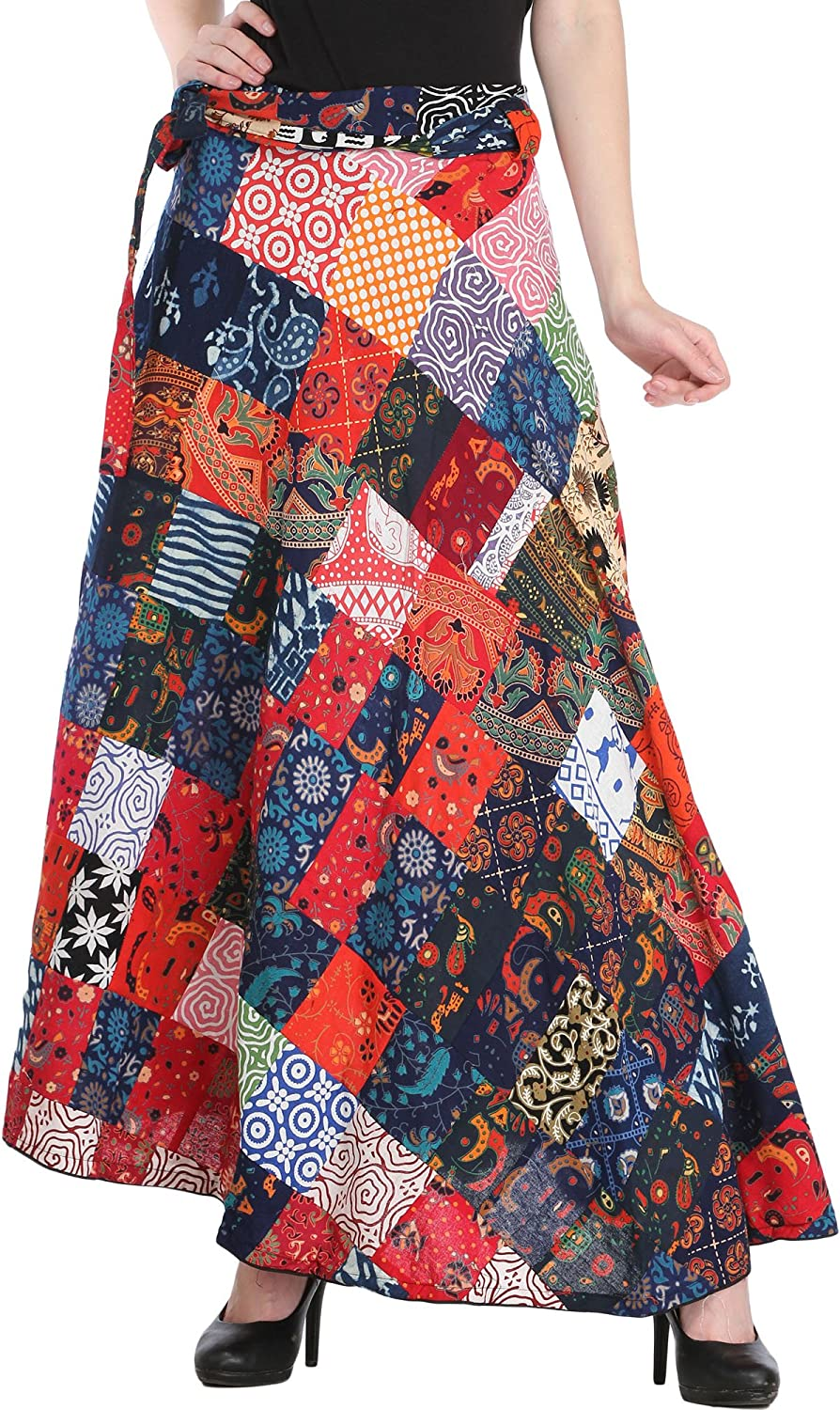 Exotic India Wrap-Around Casual Long Skirt with Printed