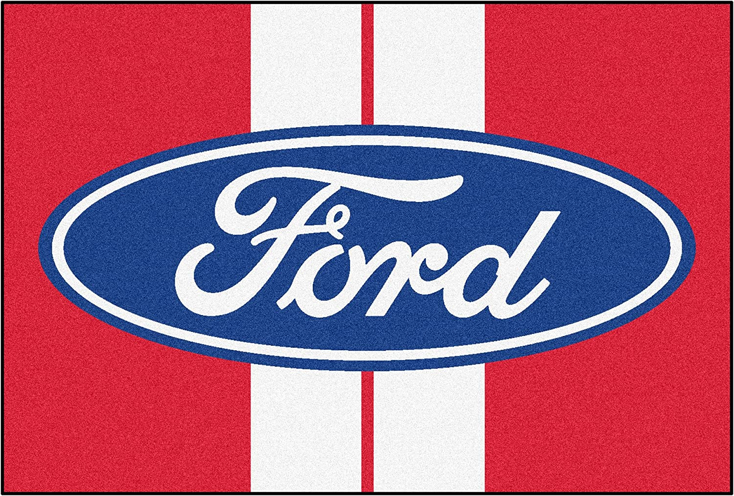 NASCAR Ford Oval with Stripes 5 x 8 Rug, 60  x 92  Small, Red