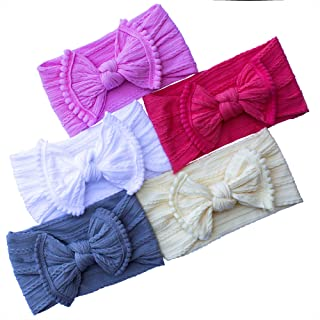 Pack of 5 colors - Baby Girl Headbands Turban Knotted Soft for Newborn Infant Toddler and Children Hairbands and Bows Child Hair Accessories Gentle on skin