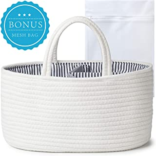 We Bloom Baby Basket Diaper Caddy Organizer - Nursery Storage Cotton Rope Bin for Changing Table & Car – Newborn Registry Must Haves for Boys and Girls – Baby Shower Gift Basket with Removable Insert
