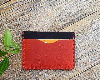 Rosso e Nero Portafoglio in pelle. Portacarte di credito, contanti o carta d'identità. Tasca Unisex in stile rustico