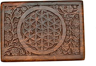 New Age Source The Carved Wood Box Flower of Life